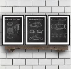 porsche poster porsche patent set of three porsche patent art porsche art