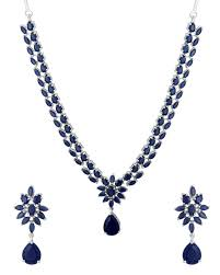 blue sapphire necklace set images Buy traditional necklace set studded with blue sapphire cz stones jpg