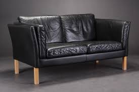 Vintage Danish Black Leather Sofas Set Of  For Sale At Pamono - Danish sofas