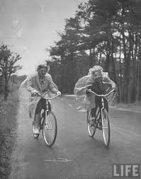 summer visitors bicycling in the rain cape cod 1940 by alfred