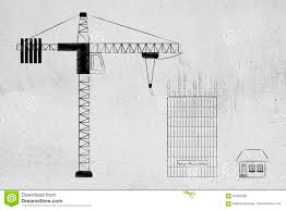 skyscraper floor plan tower crane building a skyscraper next to a small house stock