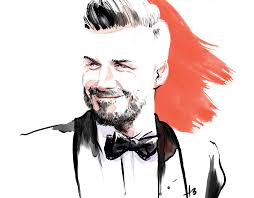 portrait of david beckheam lifestyle and fashion illustration