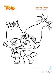 coloriage branch and poppy trolls dessin