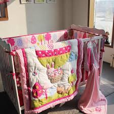Girls Crib Bedding Fire Balloon Pink Animals Rabbit Owl Baby Girls Crib Bedding
