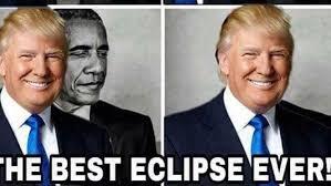 Meme Insider - look trump retweets meme of himself eclipsing obama fox news