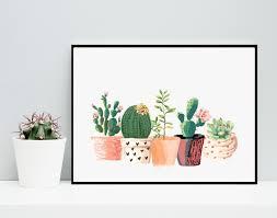 cactus print printable art cactus art home decor potted cactus