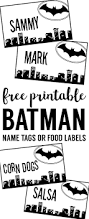 batman name tags free printable halloween party decor batman