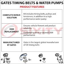 gates 98 02 honda accord 3 0l v6 timing belt water pump kit tckwp