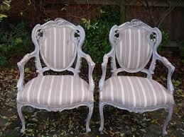 Antique Upholstered Armchairs A Pair Of Vintage French Boudoir Carved Fruitwood Upholstered