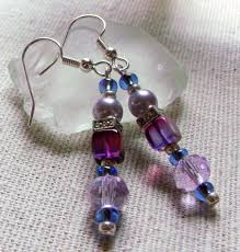 spacer earrings pink purple dice glass bead earrings lilac jewelry