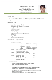 Career Profile Resume Examples Filipino Nurse Resume Sample Resume For Your Job Application