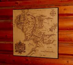 Nerdy Home Decor by Lord Of The Rings Middle Earth Map Woodburned Home Decor 45 00