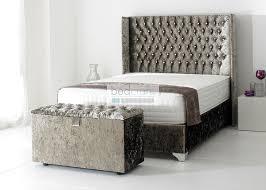 Silver Velvet Headboard by Wingback Upholstered Bed Frame Chesterfield Style Crushed Velvet