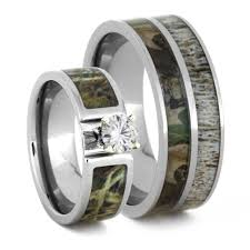 camo wedding band sets wedding ring set with moissanite and deer antler rings 3436