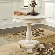 Pedestal Accent Tables Paula Deen Home Round Wood Pedestal Side Table Linen Hayneedle