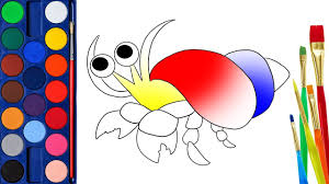 hermit crab coloring pages how to draw hermit crab learn