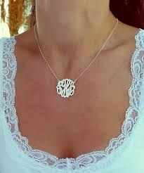 sterling silver monogram necklace small monogram necklace 1 inch sterling silver monogrammed