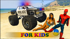 monster truck videos spiderman police car monster truck transport videos for kids