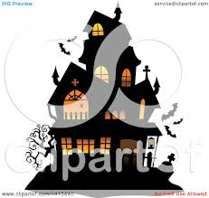 clipart of a lit haunted halloween house with bats royalty free