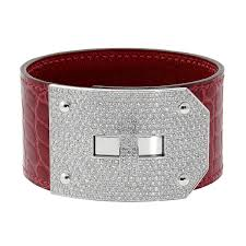 hermes bracelet leather images Hermes kelly diamond alligator leather bracelet opulent jewelers jpg