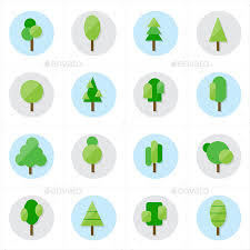flat tree icons vector illustration by karawan graphicriver