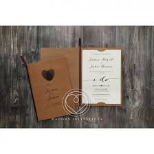 Rustic Invitations Fingerprint Wedding Invitation Rustic Craft Card Stock