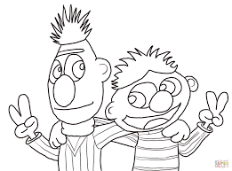 cool bert and ernie coloring page free printable coloring pages
