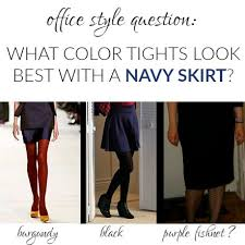 what color tights should you wear with a navy skirt