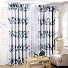 Geometric Pattern Curtains Simple Curtains In Blue And Grey Color Printed With Geometric Pattern