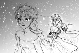 elsa and anna sketch of frozen by zpephungz on deviantart