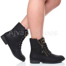 ladies ankle biker boots womens low heel lace up knitted cuff zip biker combat army