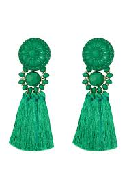 emerald green earrings kerry emerald green statement tassel bead earrings empire