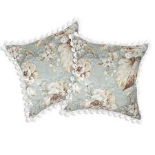 shabby chic crochet trim tropical white floral jacquard throw