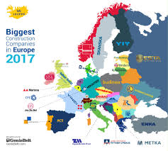 European World Map by Biggest Construction Companies In Europe 2017 Geniebelt Blog