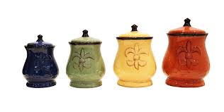 amazon com tuscany colorful hand painted fleur de lis canisters