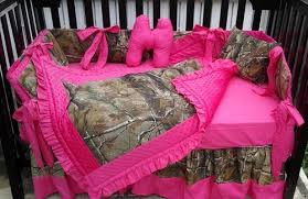 Camouflage Bedding For Cribs Tree Camouflage And Pink Bumperless Crib Bedding Set
