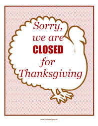 printable thanksgiving closed sign sign
