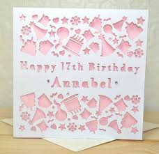 personalised laser cut birthday card by sweet pea design
