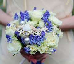 themed wedding bridal bouquet roses grape hyacinth seashells