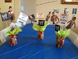 wwe birthday party center pieces cut out pictures of your child
