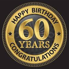celebrating 60 years birthday 60 years happy birthday congratulations gold label vector
