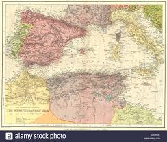 Portugal Spain Map by Western Mediterranean Spain Portugal Morocco Algeria Italy Stock