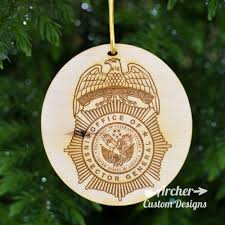 wooden ornaments with engraved badge or patch