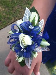 royal blue corsage blue and silver wrist corsage festive prom flowers