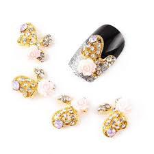 eft 10 pcs fashion nail charms gold butterfly rose alloy 3d