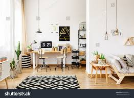 contemporary room scandinavian style office interior stock photo