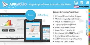 app mojo single page software promotion wordpress theme by