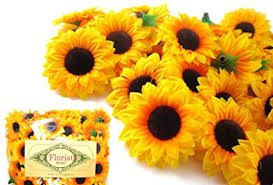 wedding flowers sunflowers 100 silk yellow sunflowers sun flower heads gerber