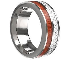 wood inlay wedding band 8mm unisex or men s wedding tungsten wedding band wood inlay