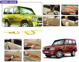 tata sumo white galio o e type fitment car graphics for tata sumo gold orange